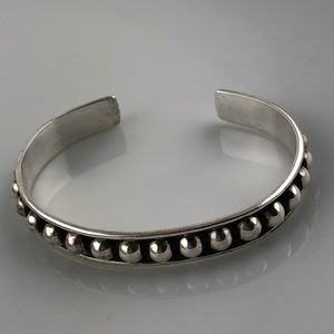 NWOT Vintage Mexican Sterling Beaded Cuff Bracelet